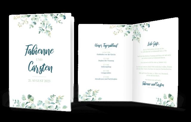 Hochzeitseinladung Klappkarte Hoch Eukalyptus Liebe
