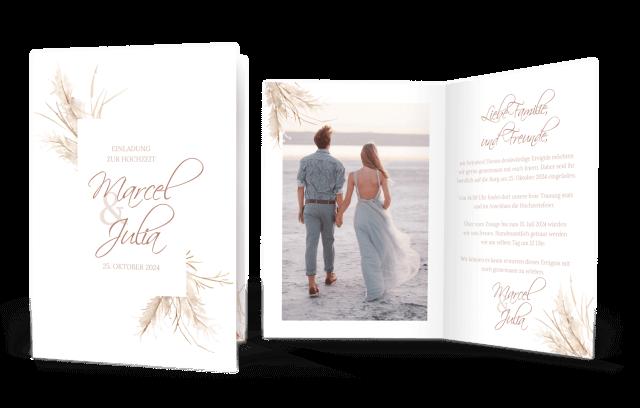Hochzeitseinladung Pampasgras Klappkarte