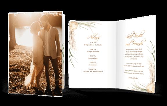 Hochzeitseinladung Klappkarte Hoch Pampasgras Vintage