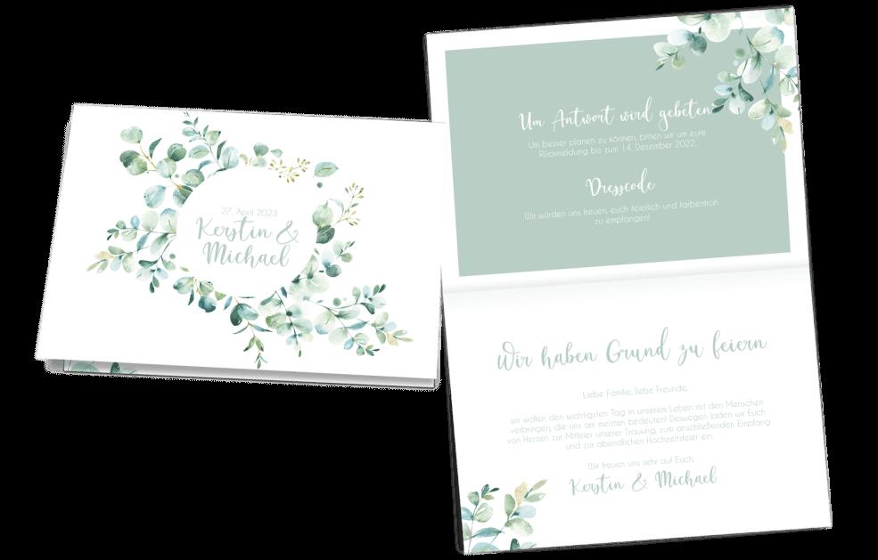 Hochzeitseinladung Klappkarte Quer Greenery Love