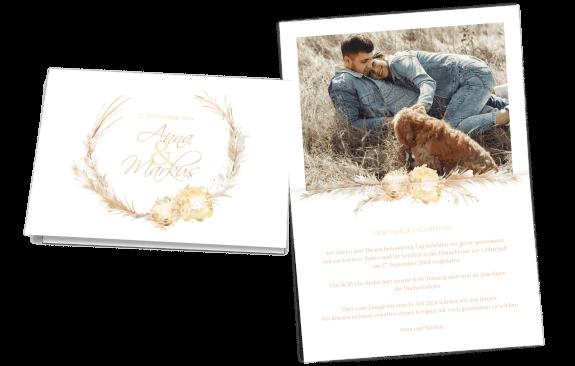 Hochzeitseinladung Pampasgras Kranz Klappkarte quer