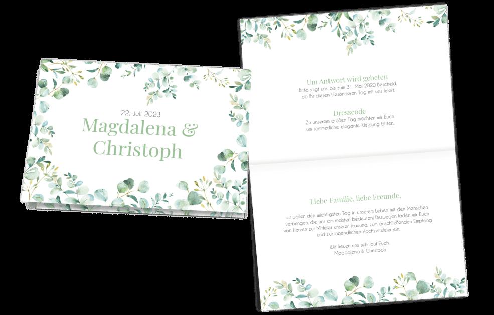 Hochzeitseinladung Klappkarte Quer Eukalyptus Liebe
