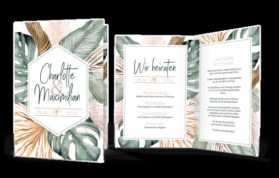 Hochzeitseinladung Klappkarte Hoch Tropical Aloha
