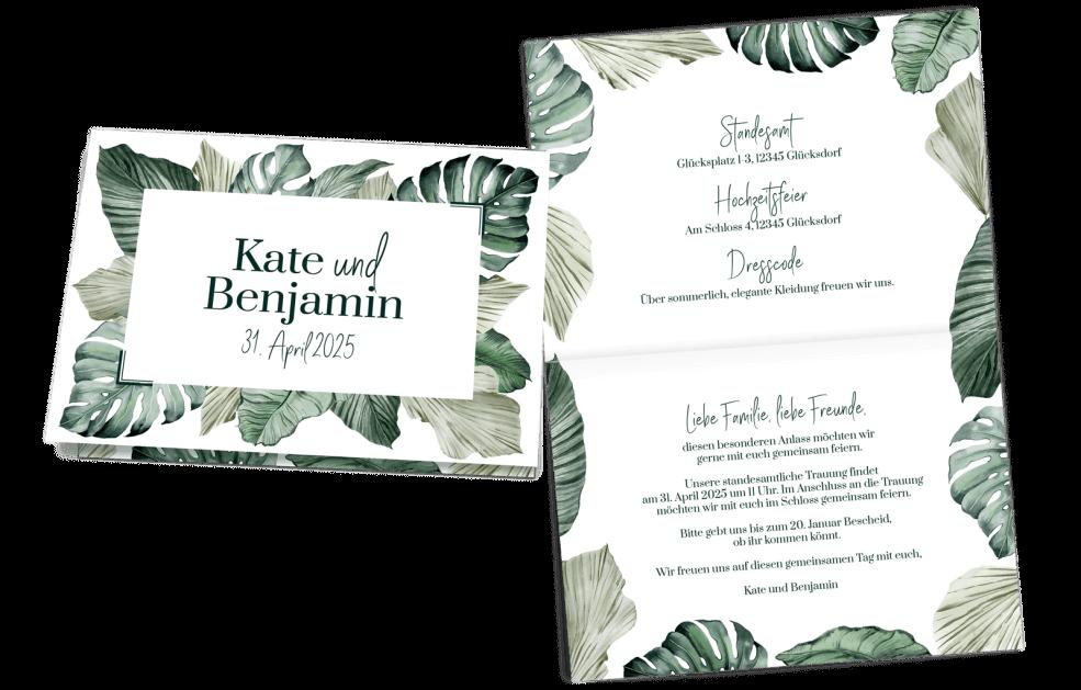 Hochzeitseinladung Klappkarte Quer Tropical