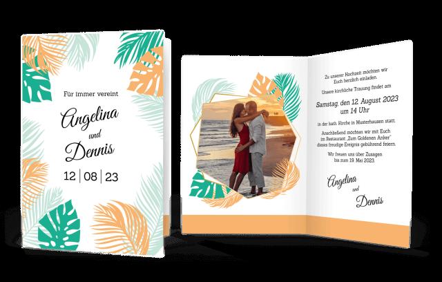Hochzeitseinladung Aloha! in Eurer Wunschfarbe