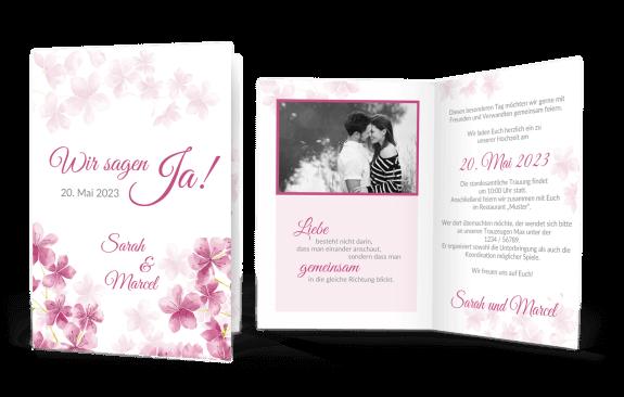 Hochzeitskarte mit Kirschblüten