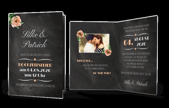 """Hochzeitskarte """"Schiefer"""" mit Vintage-Blumen"""