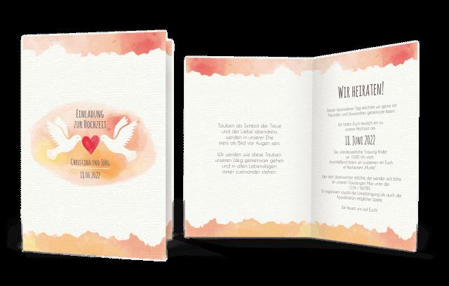Hochzeitseinladung mit Turteltauben und Herz