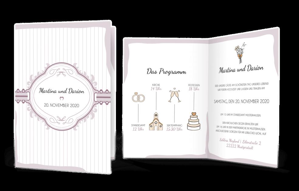 Hochzeitskarte Vintage-Programm