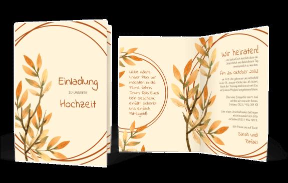 Hochzeitskarte goldener Herbst
