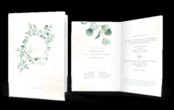 Hochzeitskarte Eukalyptus – Greenery Klappkarte