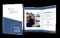 Hochzeitseinladung Blautöne Maritim