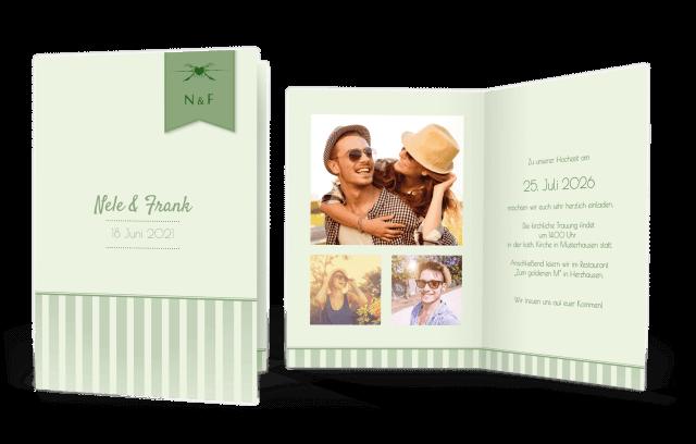 Einladungskarte Dezentgrün