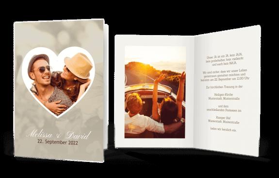Hochzeitskarte Herz mit Bild