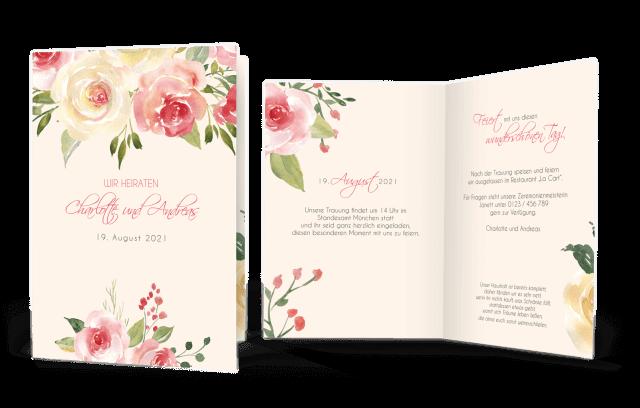 Hochzeitseinladung Pastell-Blumen