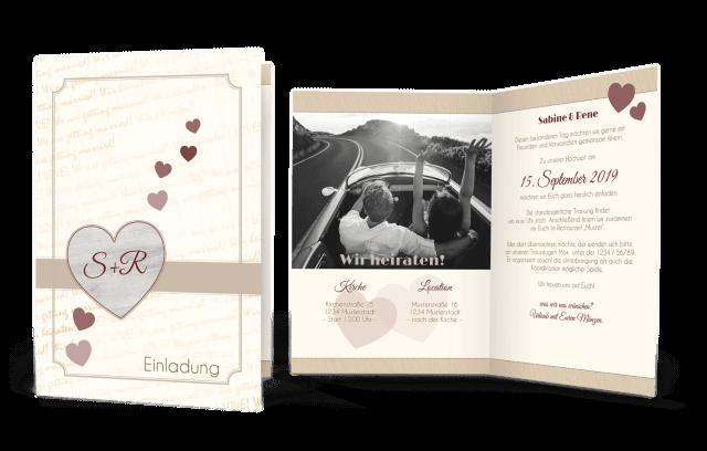 Hochzeitskarte Holzoptik Herz
