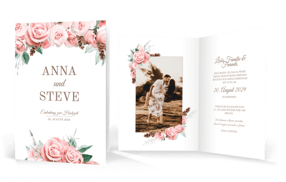 Hochzeitskarte – Lovely Pastel Flowers