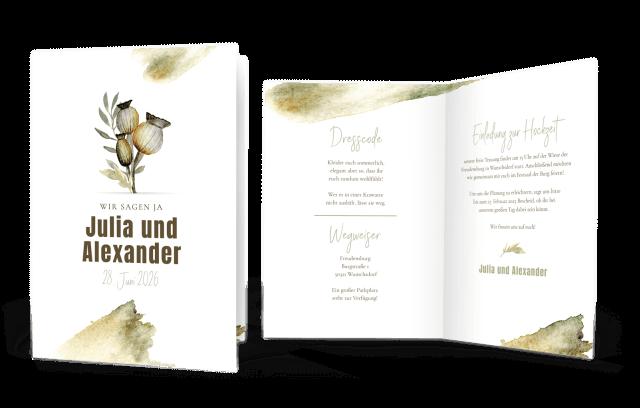 Hochzeitseinladung Klappkarte Hoch Poppyflower