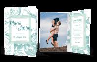 Hochzeitskarte mit dezenten Blumen