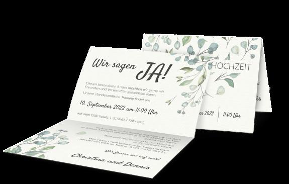 Hochzeitseinladung (Querformat) im Boho-Stil