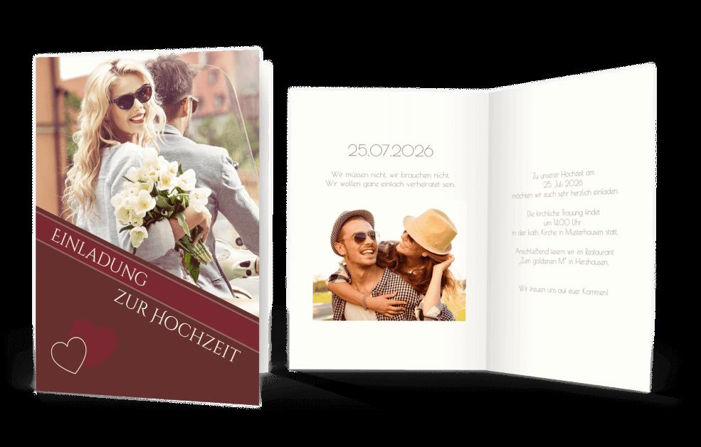 Hochzeitseinladung Rottöne mit Bild