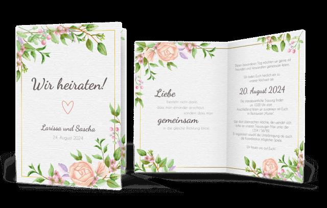 Hochzeitseinladung mit Aquarell-Vintageblumen