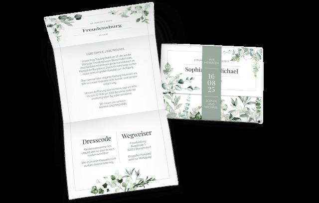 Hochzeitseinladung mit Banderole Ivy Greenery