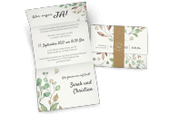 Hochzeitseinladung mit Banderole im Boho-Stil