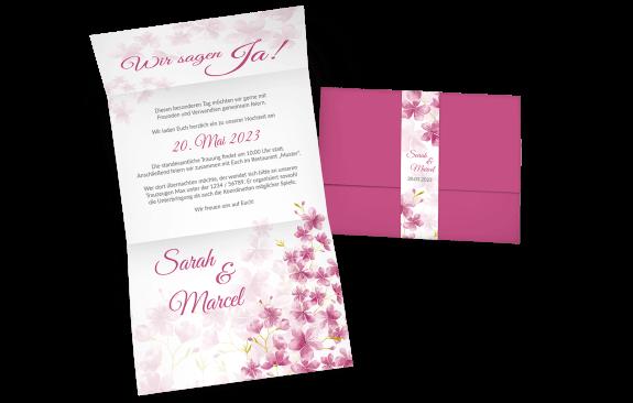 Hochzeitseinladung mit Banderole und Kirschblüten