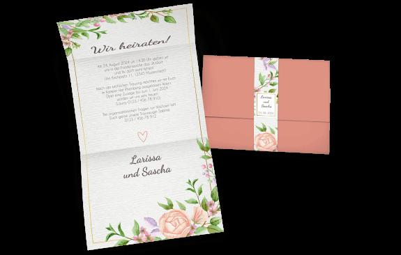 Hochzeitseinladung mit Banderole und Aquarell-Vintageblumen