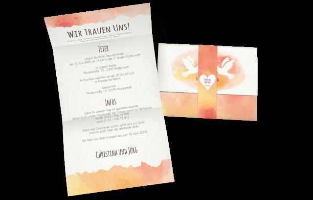 """Hochzeitseinladung mit Banderole """"Tauben"""""""