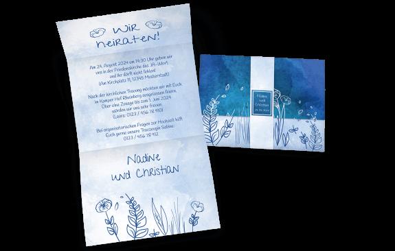 Hochzeitseinladung mit Banderole und blumigem Aquarell