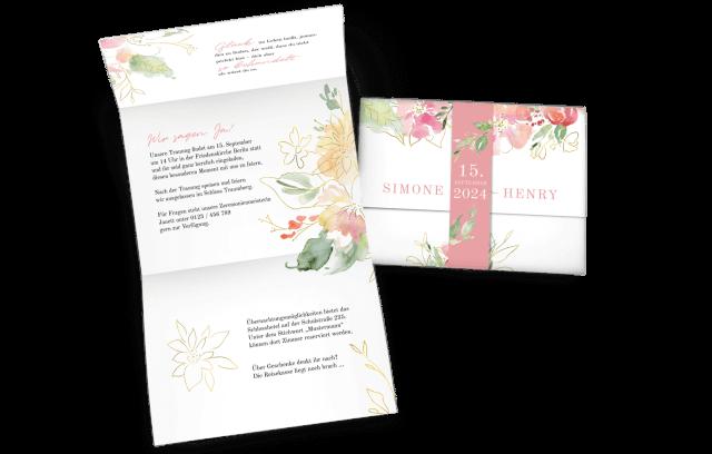 Hochzeitseinladung Flowers of Love mit Banderole