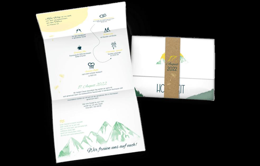 """Hochzeitskarte Berge """"Hoch Hinaus"""""""