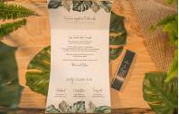 Hochzeitseinladung mit Banderole Tropical