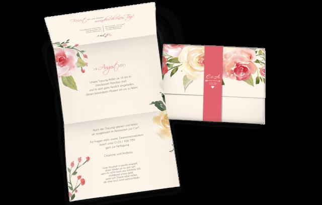 Hochzeitseinladung Pastell-Blumen mit Banderole