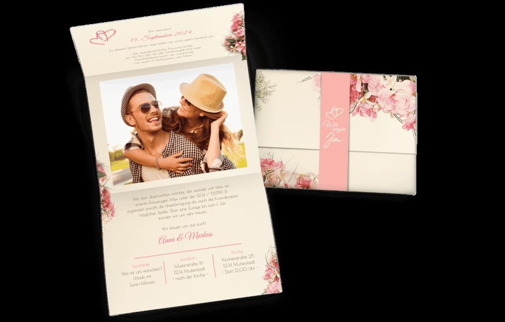 Hochzeitskarte Vintage Blumen mit Banderole