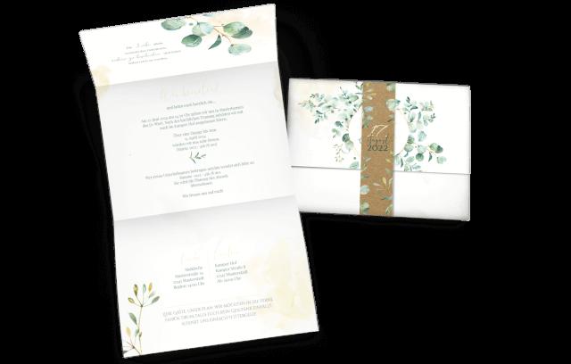 Hochzeitseinladung Eukalyptus - Greenery
