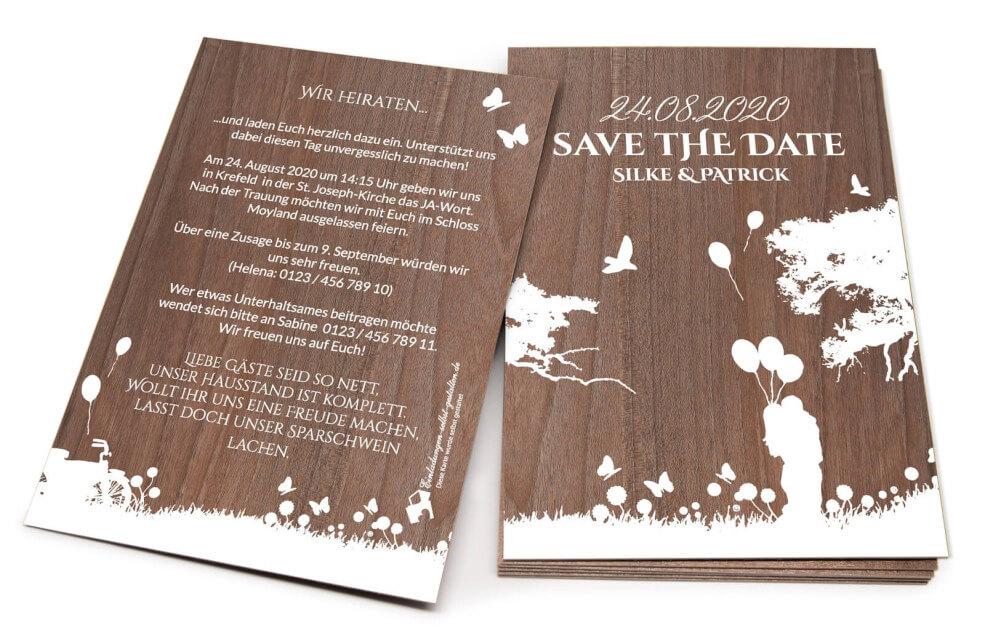 "Einladungskarte aus Holz ""Lovestory"""