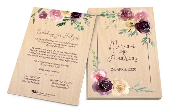 Floral-Wood - Holzeinladungskarte