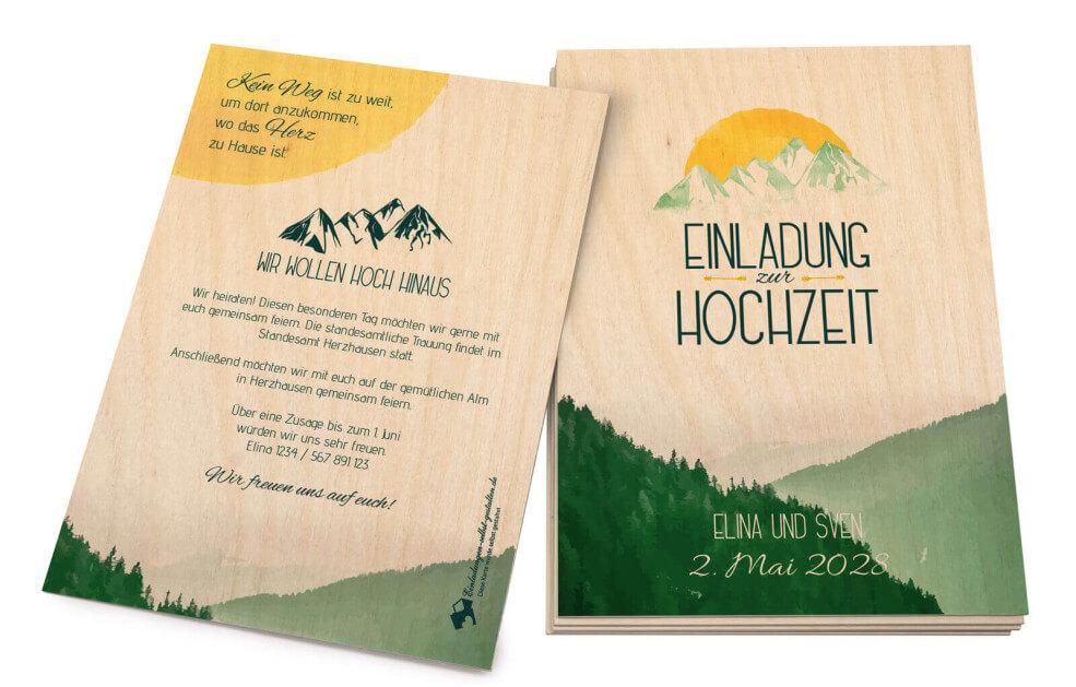 Hoch Hinaus - Holzeinladung