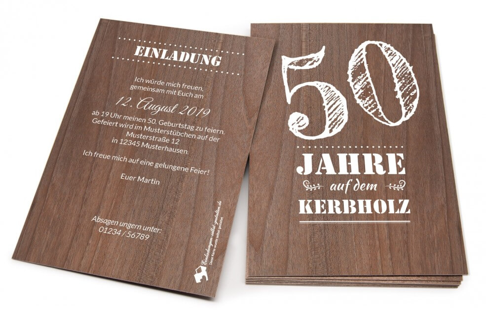Geburtstagseinladung aus Holz