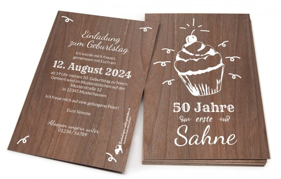 "Geburtstags-Holzkarte ""Erste Sahne"""