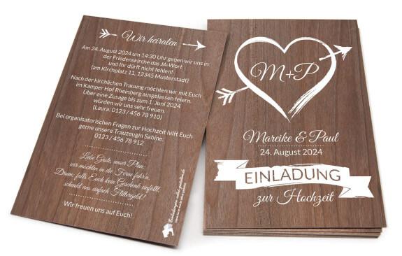 """Hochzeitseinladung aus Holz """"Amor"""""""