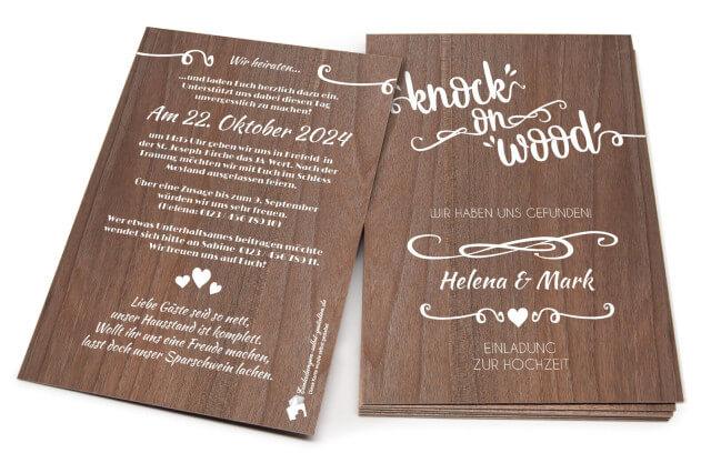"""Einladungskarte """"knock on wood"""""""