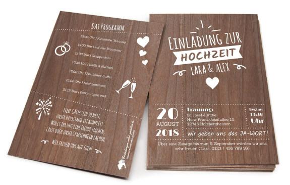 Vintage Holz-Hochzeitseinladung