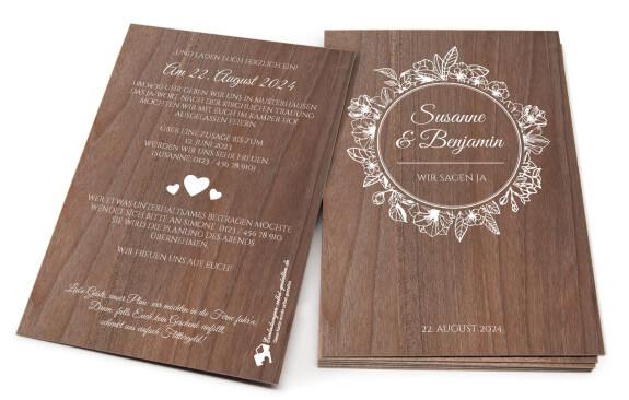 Holzeinladung Vintage-Hochzeit