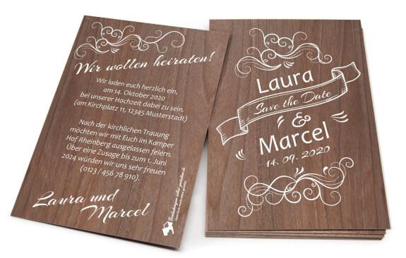 """Edle Hochzeitseinladung oder """"Save the Date"""" Karte aus Holz"""
