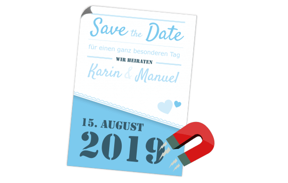 Blaue Save the Date Magnetkarte