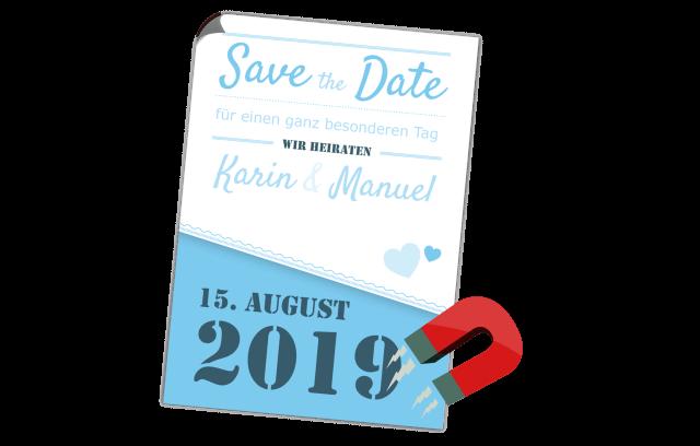 Blaue Save the Date Magnetkarte